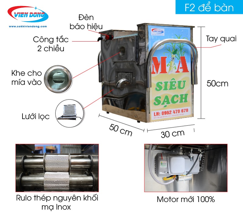 Máy ép nước mía mini F2-250 /F2-500